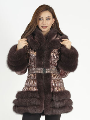Picture of MODAQUEEN FABRIC  JACKET WITH FOX FUR  ACCESSORIES 2378